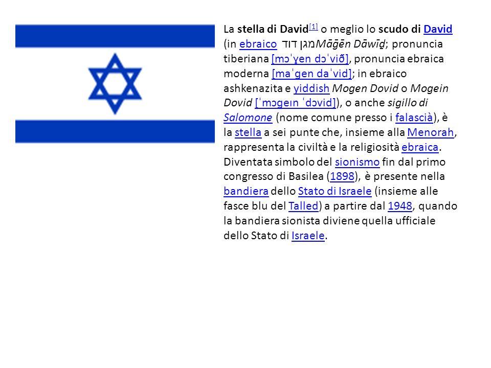 La stella di David[1] o meglio lo scudo di David (in ebraico מגן דוד Māḡēn Dāwīḏ; pronuncia tiberiana [mɔˈɣen dɔˈvið], pronuncia ebraica moderna [maˈɡen daˈvid]; in ebraico ashkenazita e yiddish Mogen Dovid o Mogein Dovid [ˈmɔɡeɪn ˈdɔvid]), o anche sigillo di Salomone (nome comune presso i falascià), è la stella a sei punte che, insieme alla Menorah, rappresenta la civiltà e la religiosità ebraica.